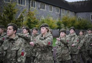 CCF cadets marching in the College grounds